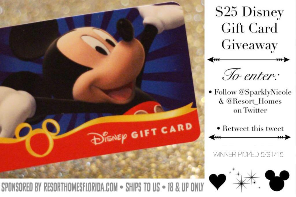 GIVEAWAY: RT & follow @SparklyNicole & @Resort_Homes to enter to win a $25 Disney gift card! http://t.co/su0fxO7fFm http://t.co/FJK3dsflO8