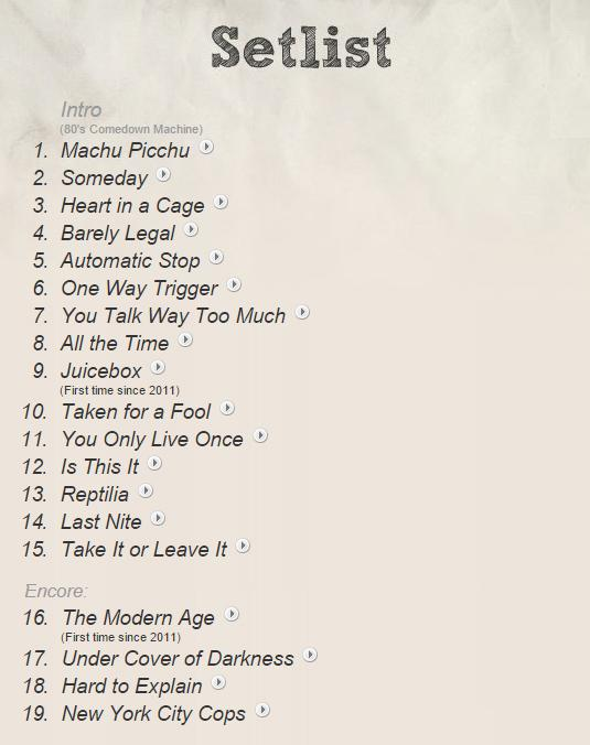 And here is the setlist for @TheStrokes at @Primavera_Sound http://t.co/pQBTHSocH1