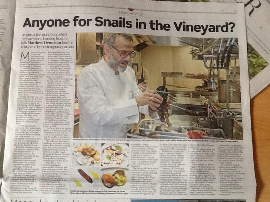 Anyone for Snails in the Vineyard? @Telegraph announces @massimobottura 3 day residency @Sothebys p.17 http://t.co/dd2ZeiC9to