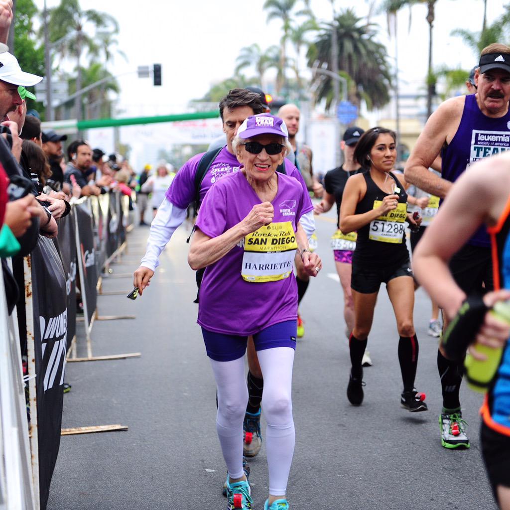 Harriette Thompson! Oldest female marathon finisher! 7:24! #RNRSD http://t.co/xGqIHLI5mA