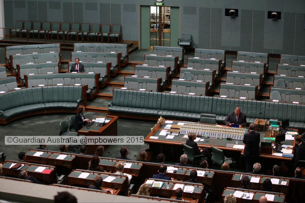 The government benches as Bill Shorten introduces his #MarriageEquality bill @murpharoo @GuardianAus #politicslive http://t.co/isJdd8JJ0h