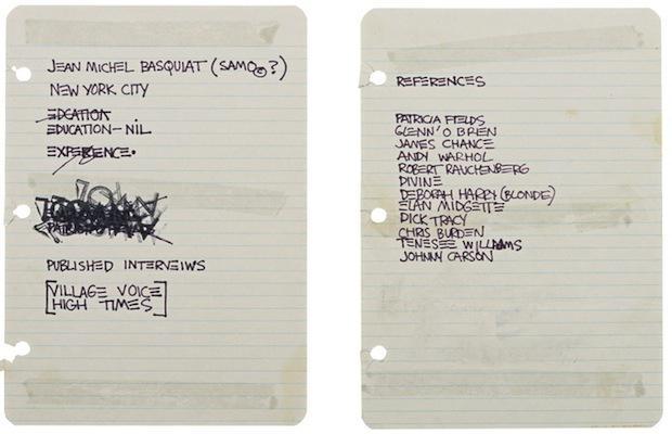 Basquiat's resume when he was 20. #Genius http://t.co/yVvjwWepH3