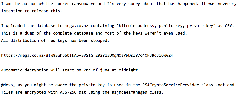 #Locker #ransomware author says sorry, publishes the #malware keys. Nice way to start the week http://t.co/etog6GFeYa http://t.co/xCBUKC8xMf