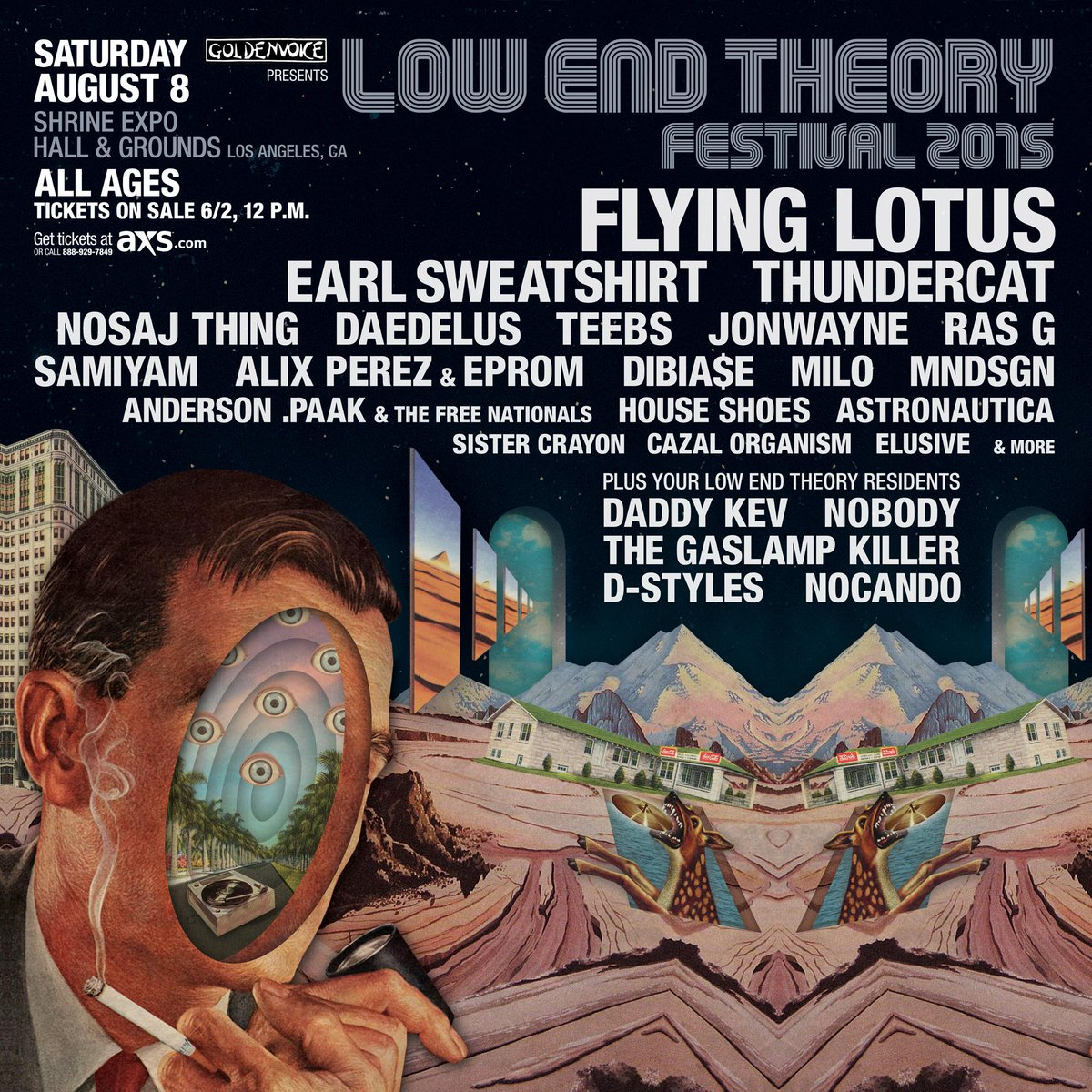 8/08: @Goldenvoice presents Low End Theory Festival 2015 at @ShrineLA. Tickets on sale mañana 6/2 at 12:00 p.m. http://t.co/R2lUrVoadl