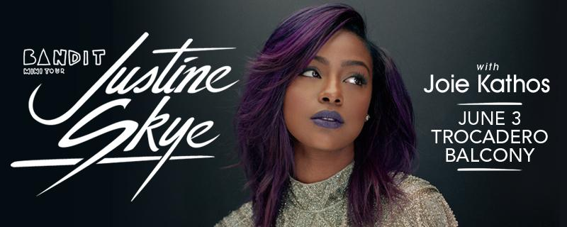 This Wednesday, @JustineSkye is live in Philly at the Trocadero Balcony with Joie Kathos.Tix: http://t.co/fr3DXz6uSM http://t.co/fZawUh8T79