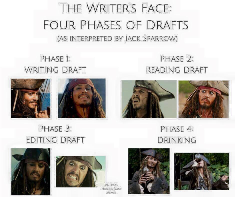 The Writer's Face: Four Stages of Drafts (Interpreted by Jack Sparrow) via Stacey Rourke on FB #amwriting #amreading https://t.co/kJX4XZVPdN