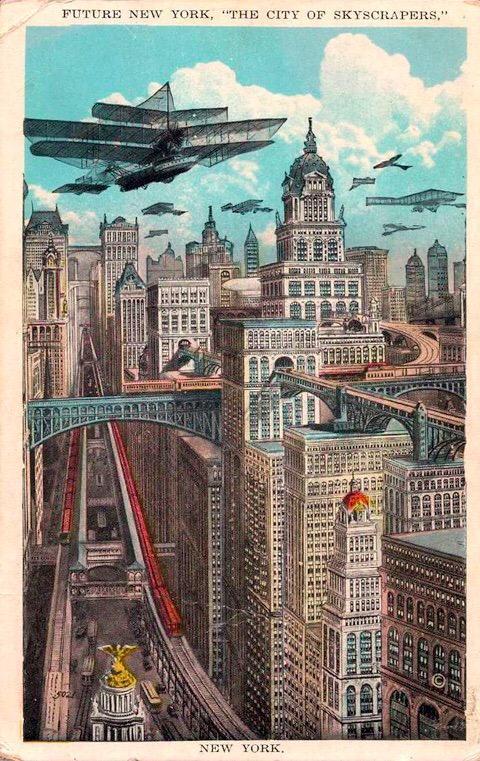 1925 postcard of 'Future New York'.   cc. @Oniropolis   http://t.co/PHULWkXvWe   http://t.co/I5NIEbMDBg