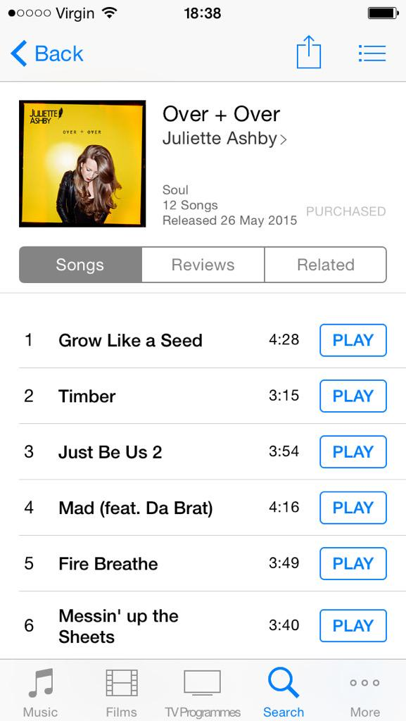 """Just Copped @JulietteAshby's Debut LP """"Over + Over"""" On @iTunesMusic #SupportYourLocalArtists"""