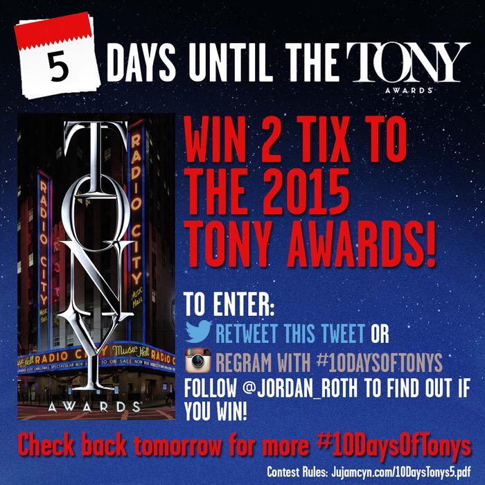 MORE TONYS TICKETS! Retweet to enter to win 2 tix to the Tony Awards on Sunday! #10DaysOfTonys http://t.co/TCJrlNBzM3