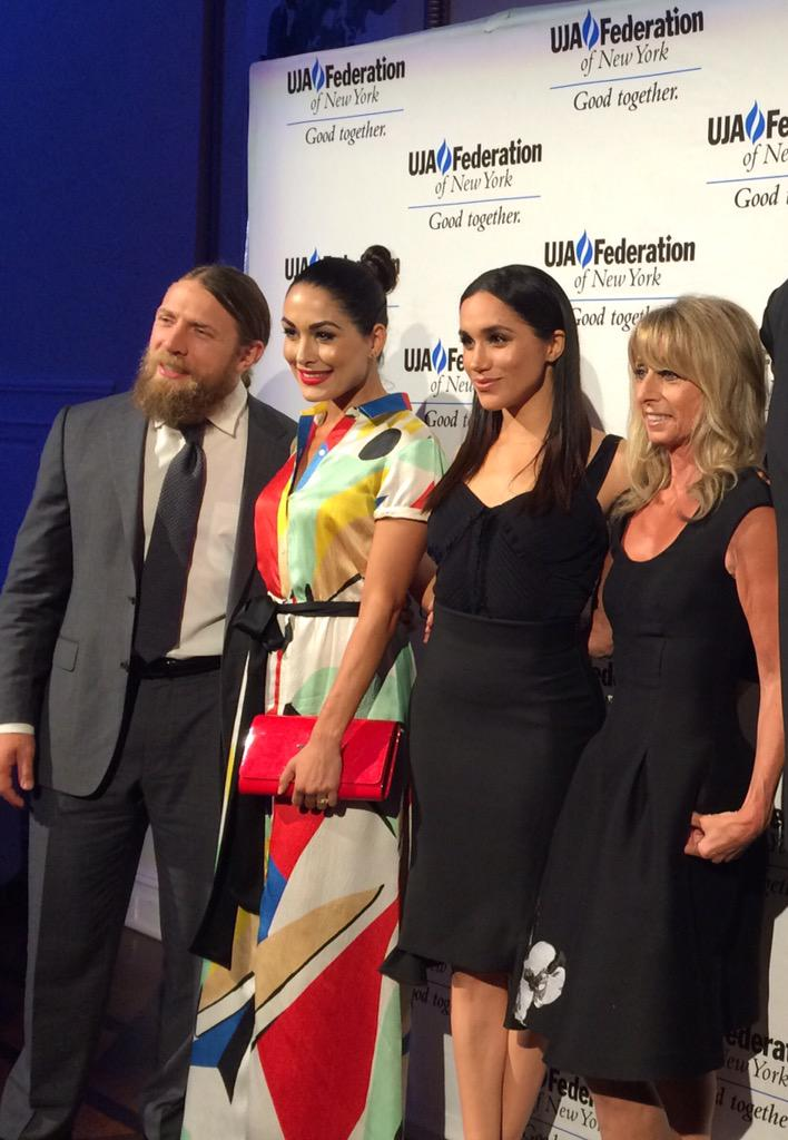 #ujaLAD honoree Bonnie Hammer with @BellaTwins @meghanmarkle & @WWEDanielBryan! Congrats, Bonnie! http://t.co/pRstUVDwmR
