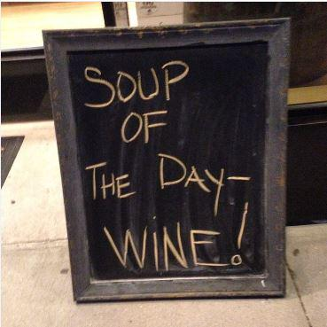 We are digging this sign! Happy #WineWednesday and let's have some soup for lunch :) #RiojaBuzz http://t.co/9v11cyit6t