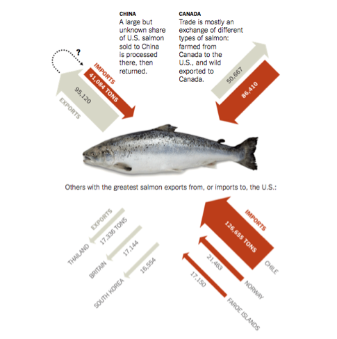 US wild salmon often frozen whole shipped 2 China defrosted, boned & sent back 2 US 2X frozen http://t.co/yIMWsdg7cH http://t.co/bwDnQ88Qe8