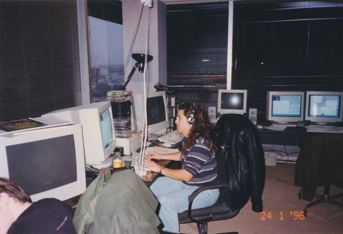 Making Quake. Two computers: one to create, one to run. Carmack's computer to my right. Jan 24, 1996. http://t.co/83buRsKGtA