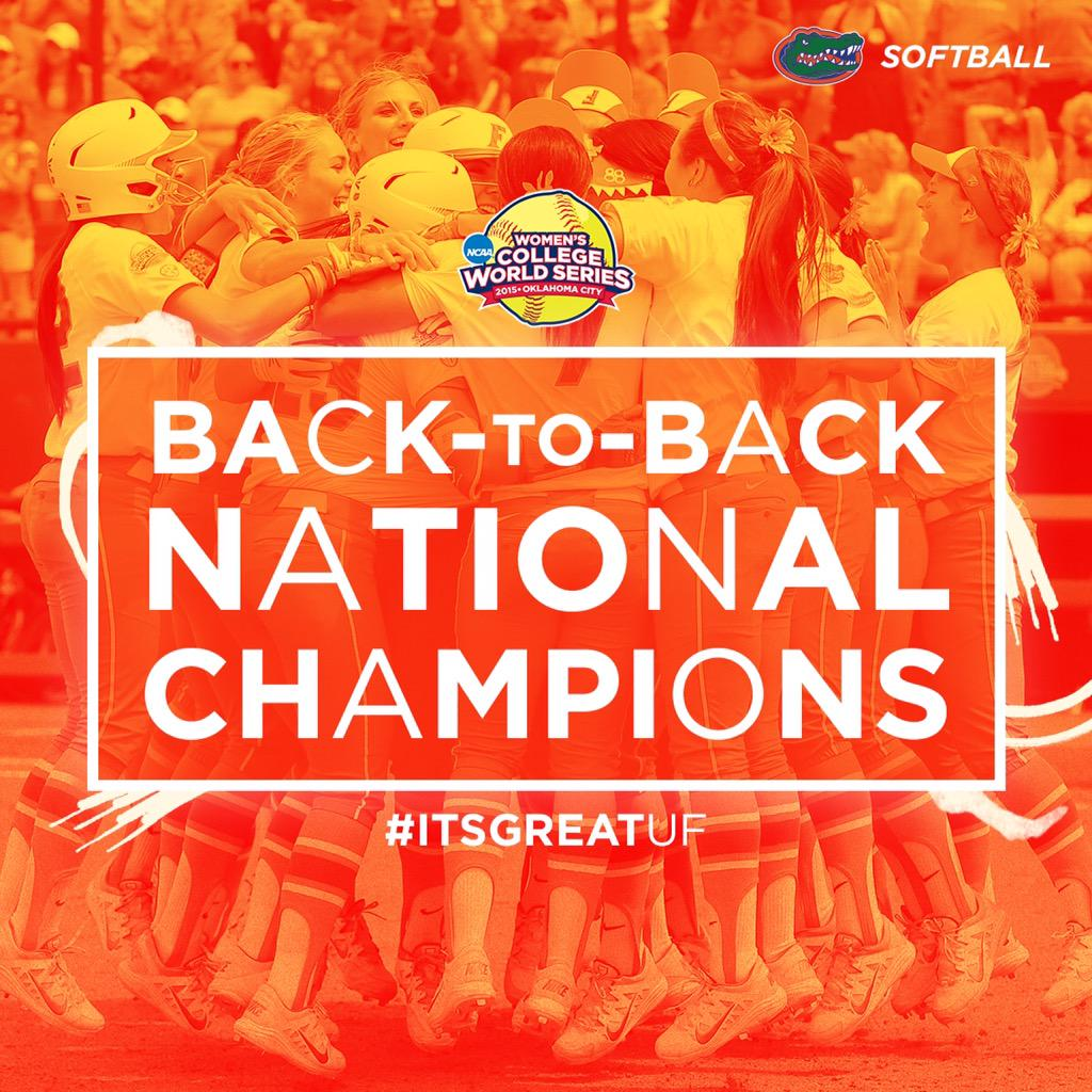 BACK-TO-BACK!!! The #Gators have beat Michigan and are the 2015 NCAA CHAMPIONS!!!!  #GatorsRepeat http://t.co/YJ7GsHoUsn