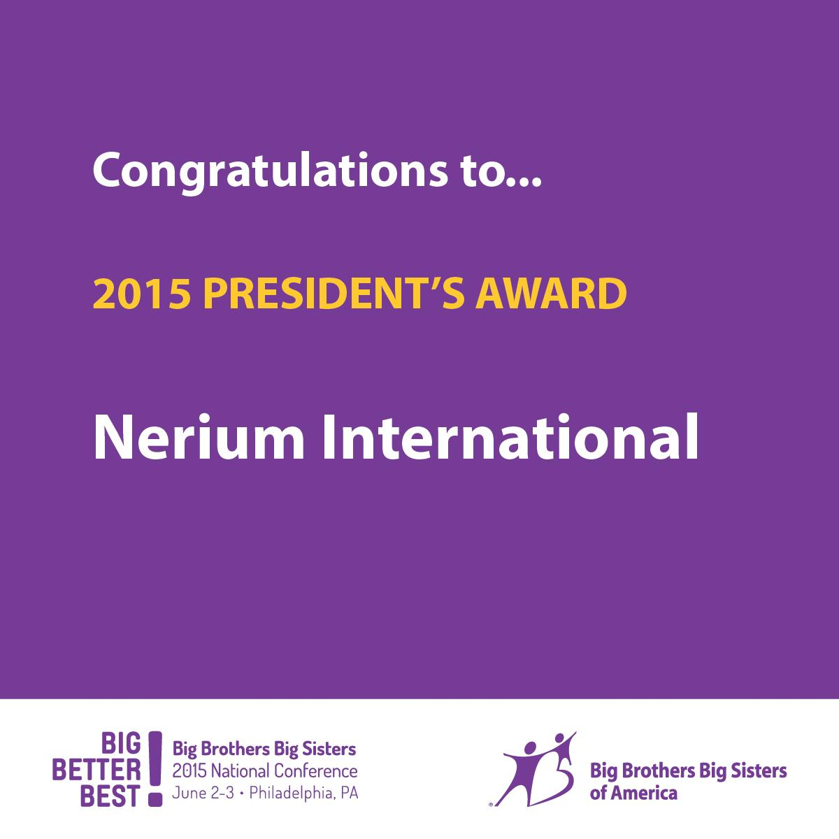 Congratulations to @NeriumIntl for receiving the 2015 Presidents Award! #BBBSTogether http://t.co/HptNj67X6J