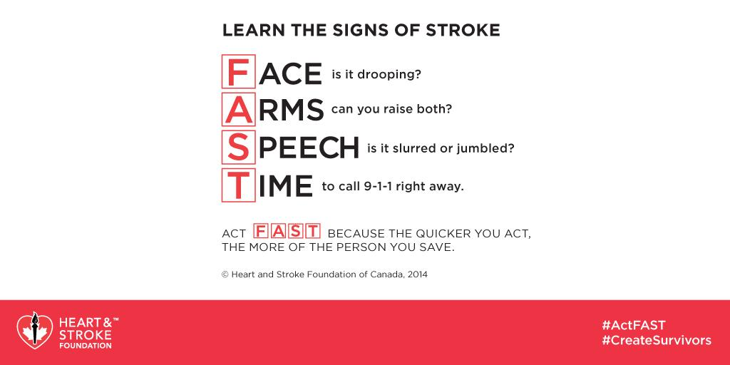 Retweet this and make sure every Canadian knows the signs of stroke. #ActFAST #Every9Mins http://t.co/FzZVQc0fpV