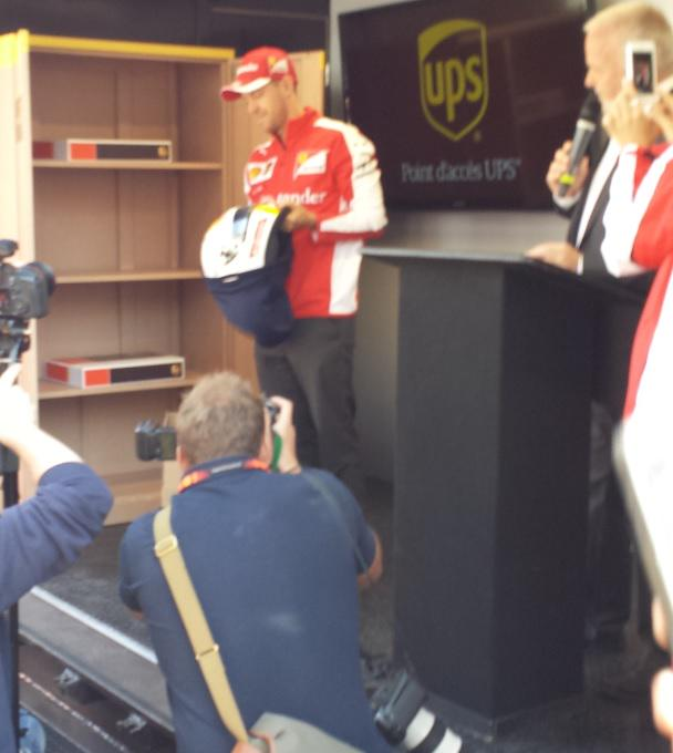 #Seb5 collects some vital items from our UPS Access Point location - his helmet, gloves and cap! #ForzaUPSCan http://t.co/hA8kmpkohg