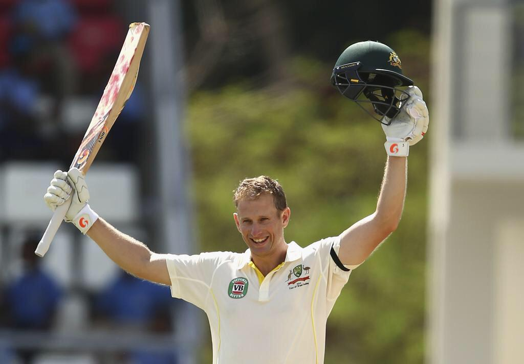 What an absolute legend... @acvoges 100 on debut! Shows what 10k+ First Class runs prepares you for. #WIvAUS http://t.co/Xm4YEf8mYU