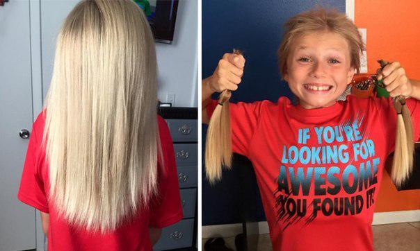Мальчик 2 года терпел издевательства, чтобы пожертвовать волосы для больных раком. http://t.co/E23UF2vFTF