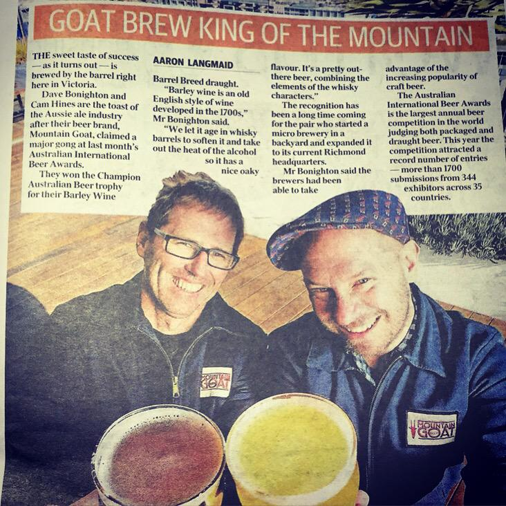What's happening? We're in the paper! Cheers @theheraldsun #melbournenews #craftbeer #melbourne http://t.co/EfMpcKGp2F