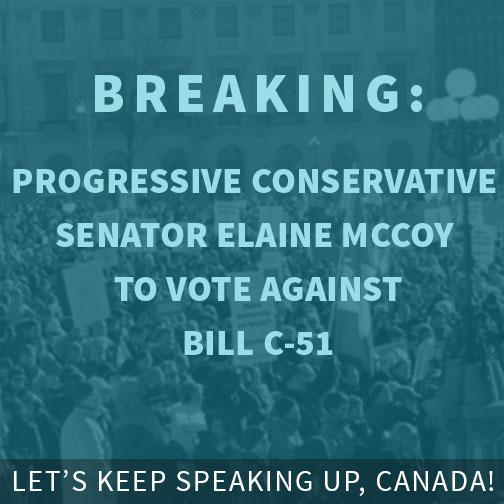 MOMENTUM: Looks like we have our first non-liberal (independent) senator voting against Bill C-51 #cdnpoli http://t.co/tQgoMFfyxS