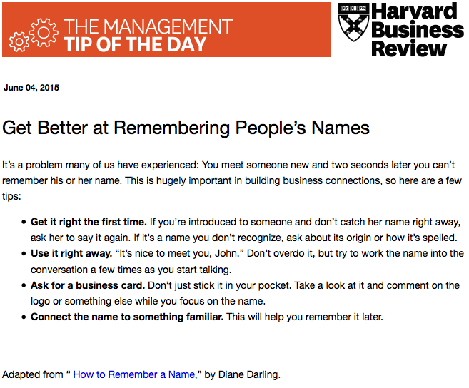 Our management tip of the day: Remember people's names when networking http://t.co/TtYD1dWfv5