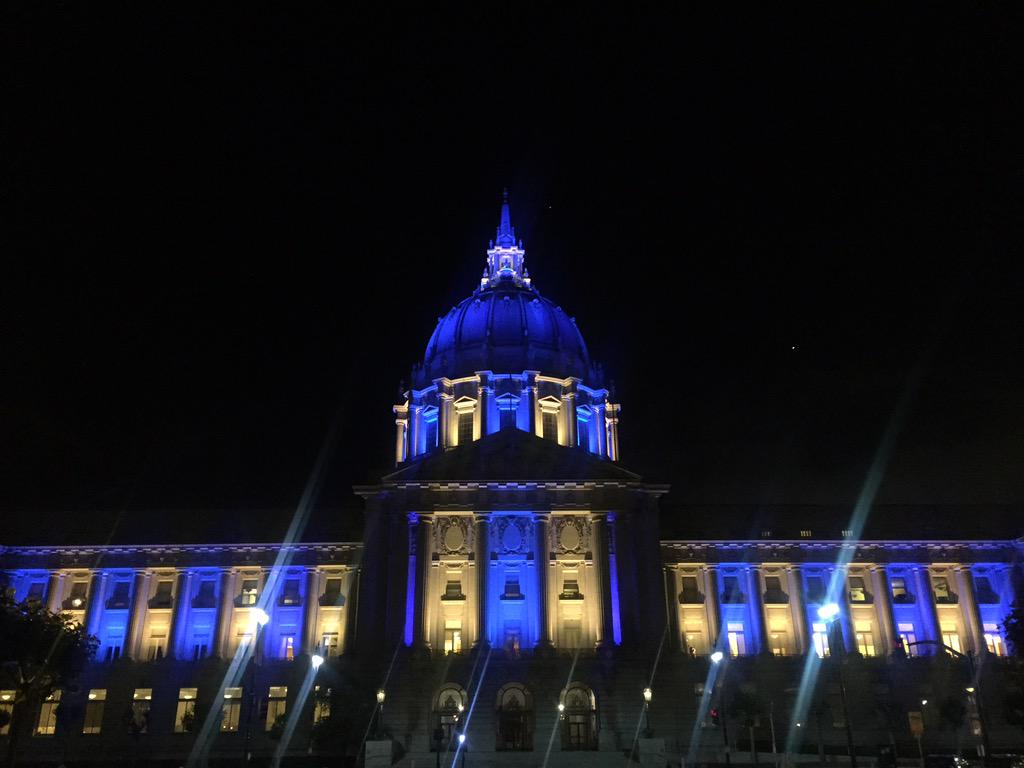 #SF City Hall is awash in yellow & blue! #LetsGoWarriors #StrengthInNumbers #DubNation #NBAFinals http://t.co/ryM0GP2kqd