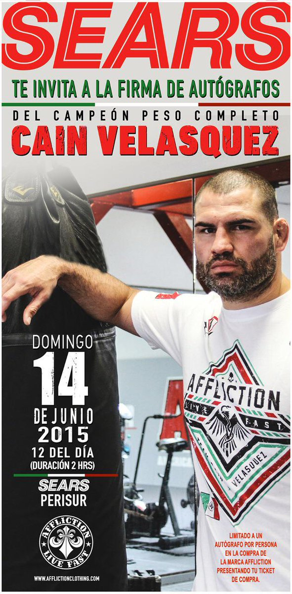 Meet @cainmma in Mexico June 14th @Sears for @Affliction @ufc @UFCespanol #ufc188 http://t.co/iAlF8TkUJS