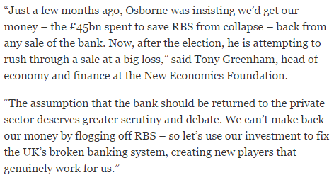 Osborne to sell off bailed-out RBS at £13bn loss to public - @TonyGreenham in the @Independent http://t.co/93f3Bo5QXA http://t.co/nCdSWqwBEt