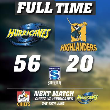Full Time: This ones for you Jerry - Hurricanes 56 Highlanders 20 #RIPJerryCollins #HURvHIG #SuperRugby http://t.co/jbUwoSXLB7