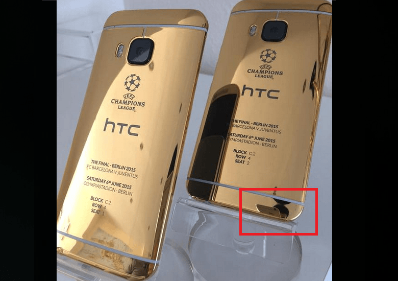 HTC introduces 24-karat gold One M9 using a photo taken with an iPhone http://t.co/caw1lXaU1y Oops. http://t.co/EbK8CPIVYj