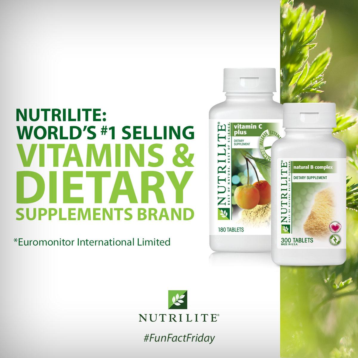 We're No. 1! #Nutrilite is world's top vitamin + dietary supplements brand (http://t.co/PxsJiD9Pv1) #FunFactFriday http://t.co/nJ9SPI8q9e