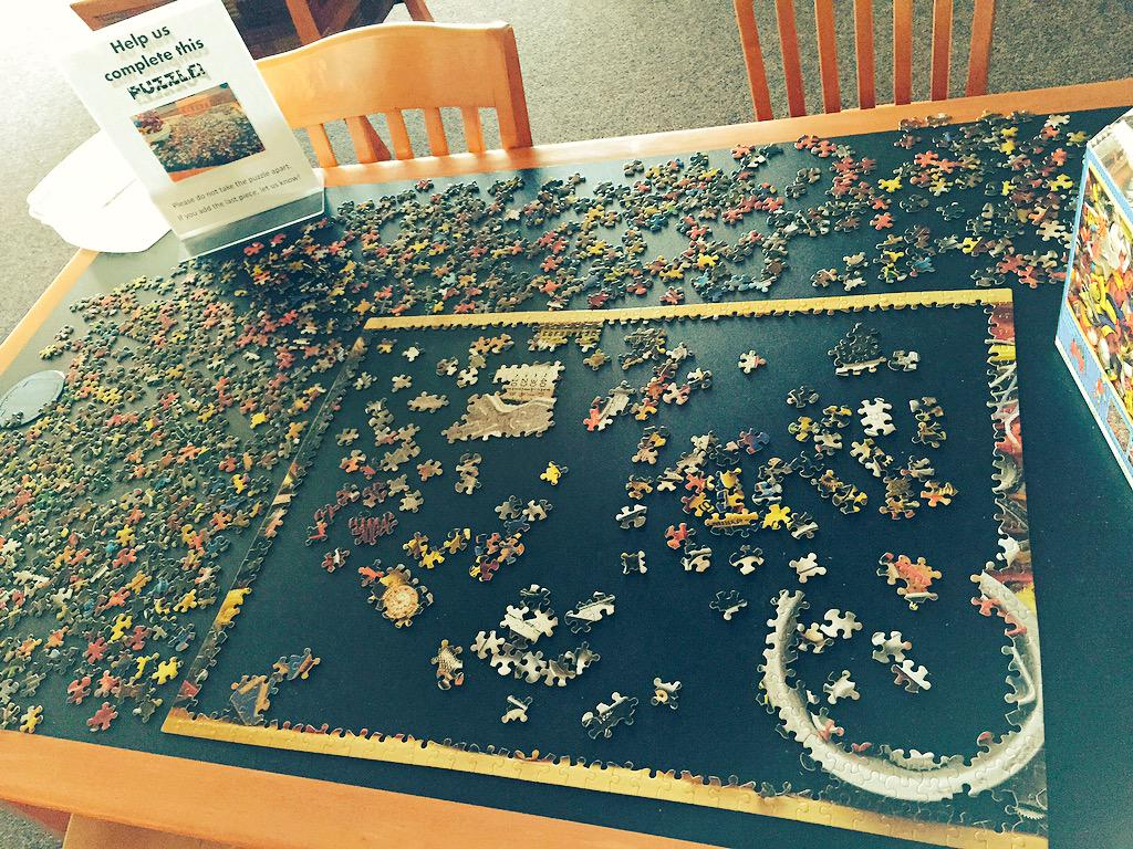 Neenah Library (@neenahlibrary): Stop by and help us complete our puzzle! #libraryfun #community #library http://t.co/kwtspYgMjv