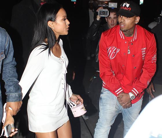 Things get heated between exes Chris Brown & Karrueche Tran during a run-in at a nightclub: