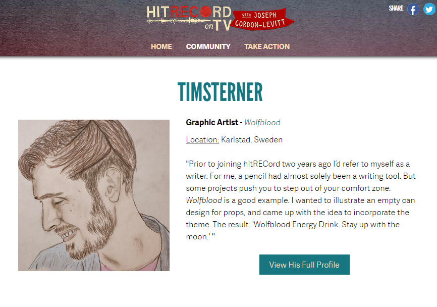 RT @timsterner: Season 2 of @hitRECord on TV begins next Friday @pivot. I'm atm highlighted on their site for a prop design in Ep 1. http:/…