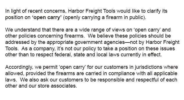 Harbor Freight Tools would like to clarify its position on 'open carry' (openly carrying a firearm in public). http://t.co/ATjeKoy4Wf