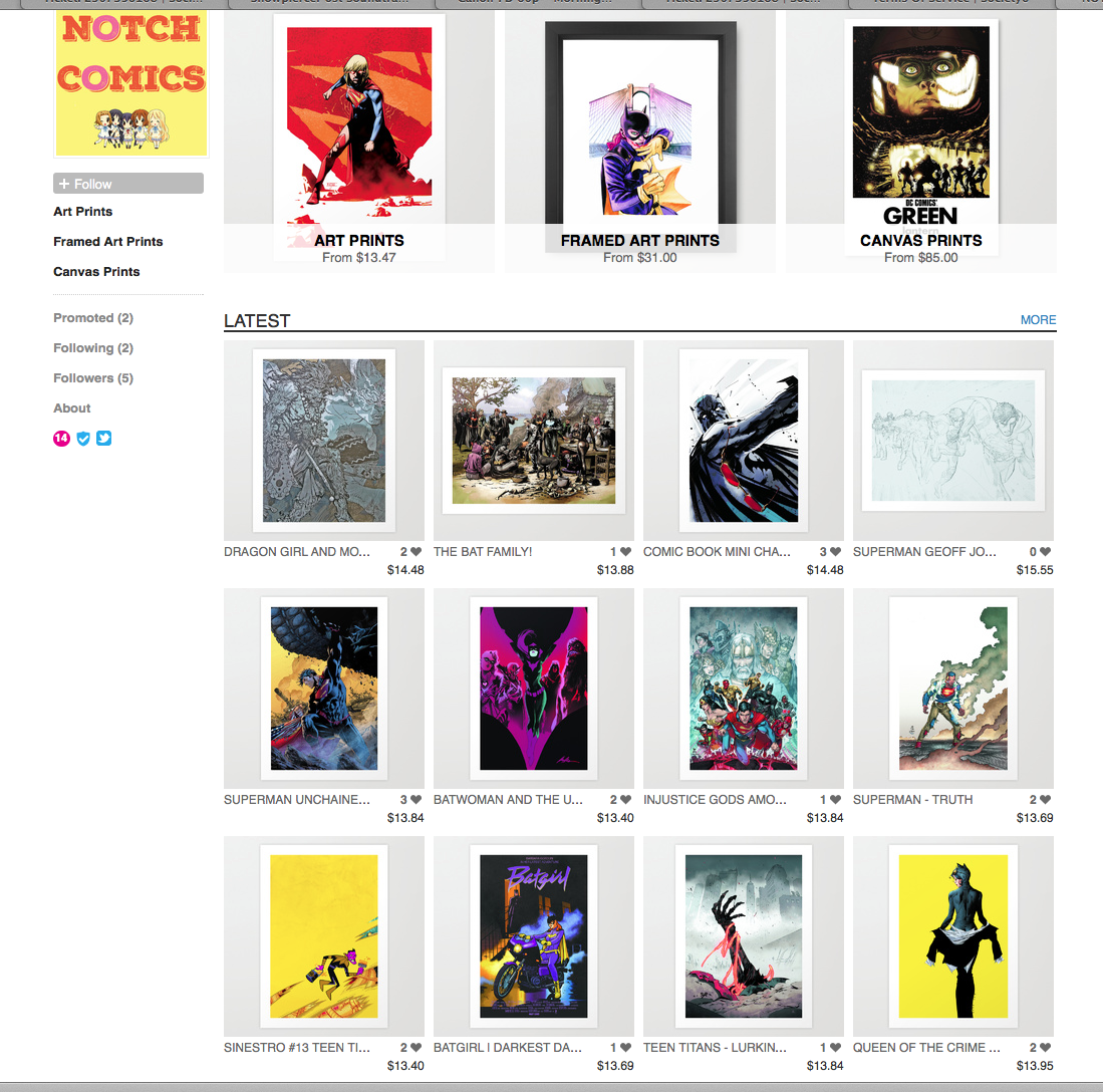 Hey @society6- Stop illegally selling art created by me, @cliffchiang, @jock4twenty, @rafaalbuquerque, Romita Jr, etc http://t.co/r5xukdGTje