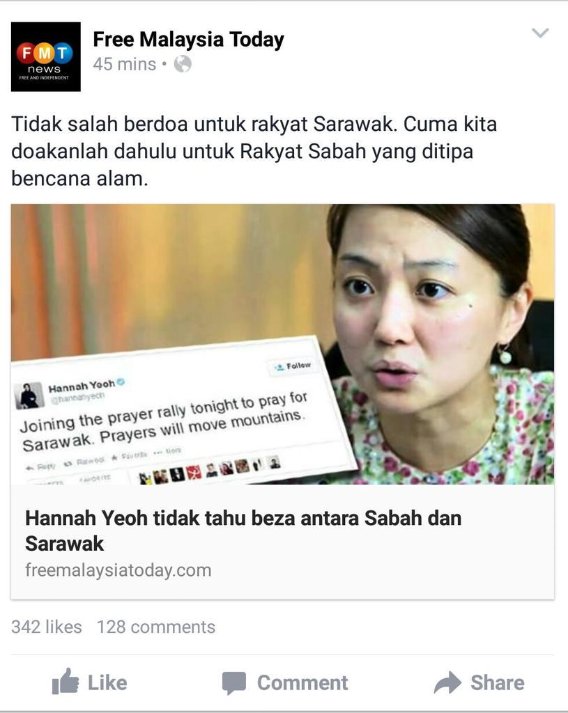 FMT shame on u to quote my tweet from 2011 & link it to earthquake in Sabah. Selling lies now. http://t.co/95xtekjyy8