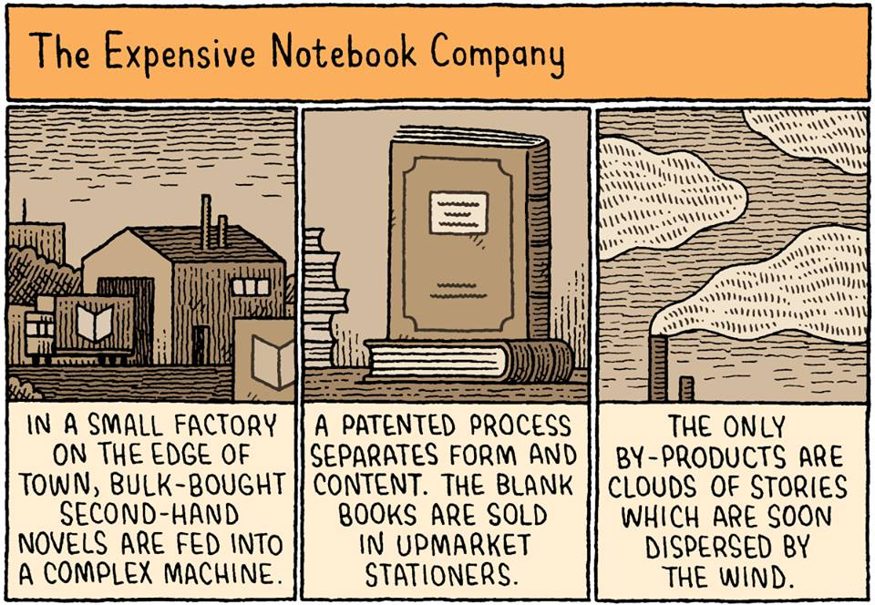 Love this from @NewYorker The expensive notebook company. An illustration by Tom Gauld: http://t.co/8WCSNRbQPX http://t.co/SevkK5I75G