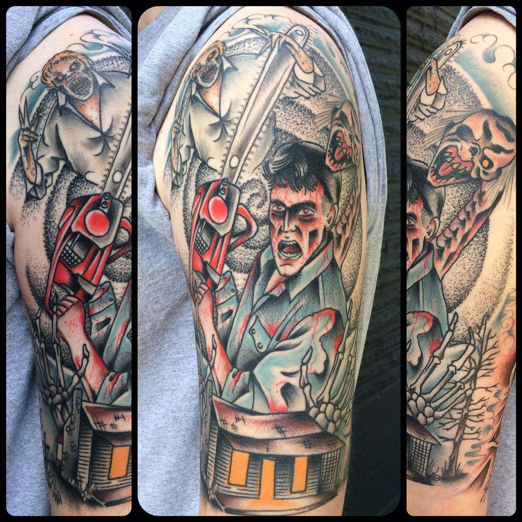 Got a shot of the healed evil dead 1/2 sleeve!! @GroovyBruce http://t.co/8LtOcxBvfm