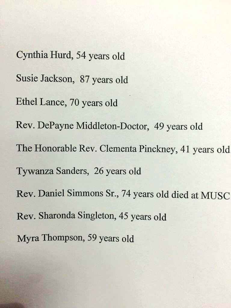 These are the names of the 9 victims of the #CharlestonMassacre. Continue to mention them.   The media isn't. http://t.co/i0wLrVSHtv