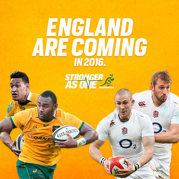 RT @Wallabies: NEWS | @Qantas Wallabies to host @EnglandRugby in historic 2016 Test series! StrongerAsOne  http://…
