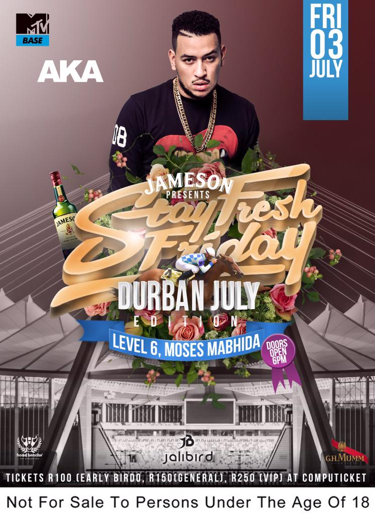 He's currently killing international shows ... Catch the SUPER MEGA @akaworldwide at #StayFreshDBN03July