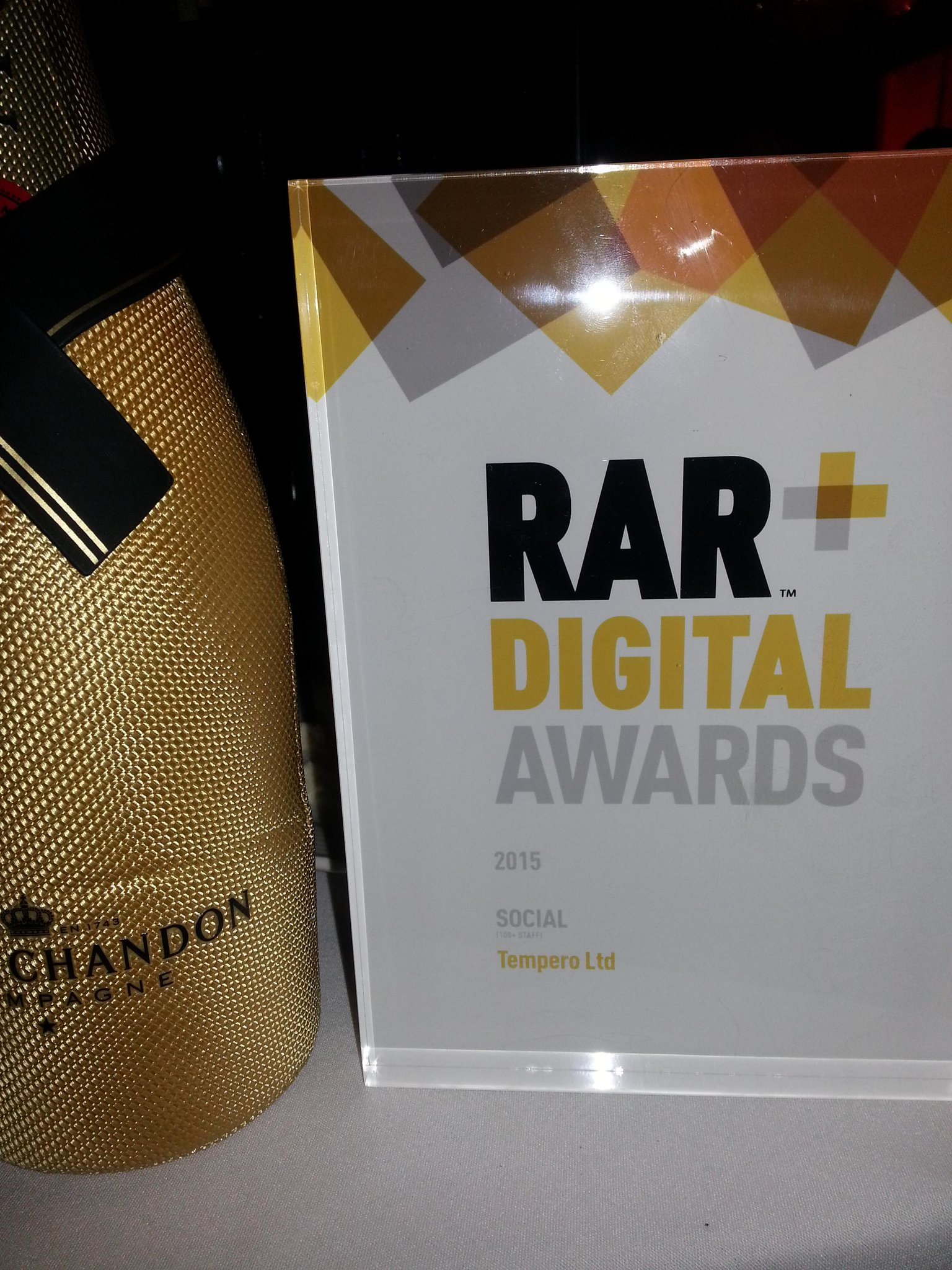 We won! #RARDigitalAwards for best Social Agency. They'll be some sore heads in the office today http://t.co/PfjPvU1Az4
