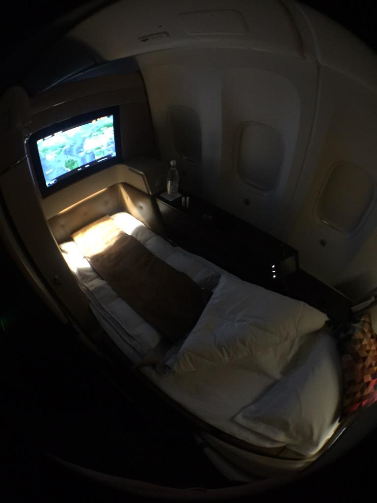 @EtihadAirways Anna the fantastic cabin crew made my bed :) with a bit of mint scent to relax. #Reimagined http://t.co/FHrFlA2t7J