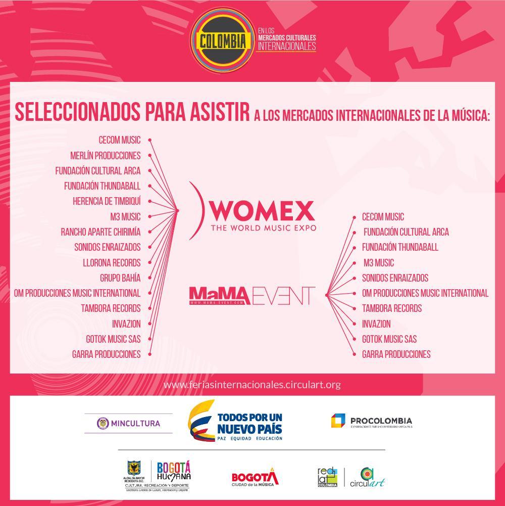Seleccionados los empresarios de la música colombiana para @womex y @MaMAevent Conócelos aquí: http://t.co/pvwu7NXfMc http://t.co/EdBJXL6AMJ