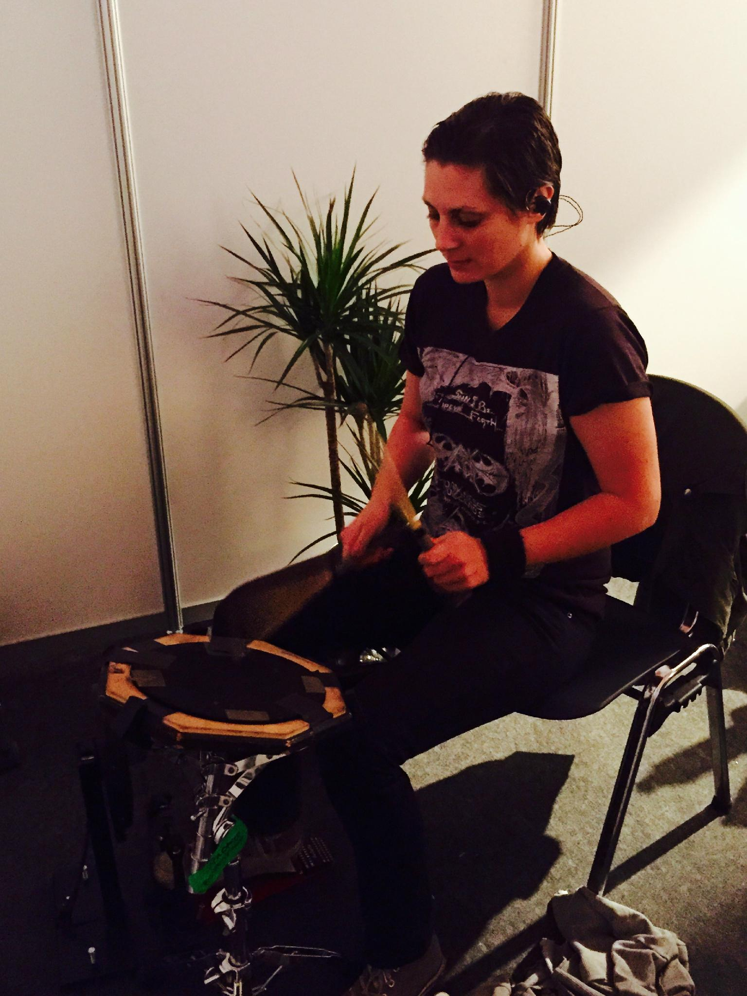Leah backstage warming up for her first show (Southside Festival) following her brain surgery and months of recovery. http://t.co/HEA5yMYhlQ