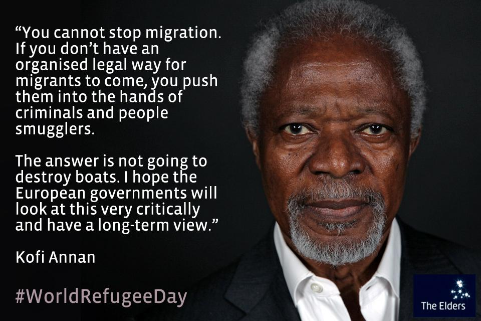 You can't stop migration, so what's the solution? @KofiAnnan says destroying boats isn't the answer #WorldRefugeeDay http://t.co/Oe9drKxndk
