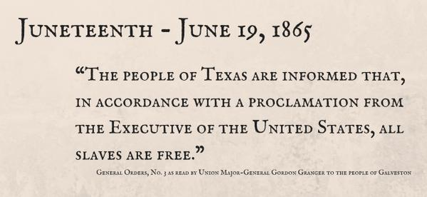 Today, we celebrate the 150th anniversary #Juneteenth, the day which marked the symbolic end of slavery in the US http://t.co/qoowWDpRIR