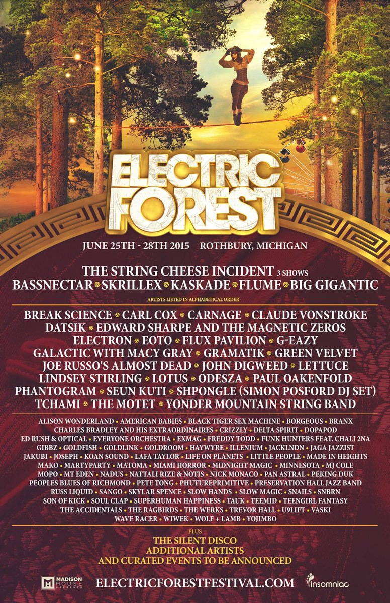 Steppin into the forest in 6 days! Pumped for @Electric_Forest w/ this stacked lineup! Bringin only positive enegy http://t.co/oEbuvTkEIy